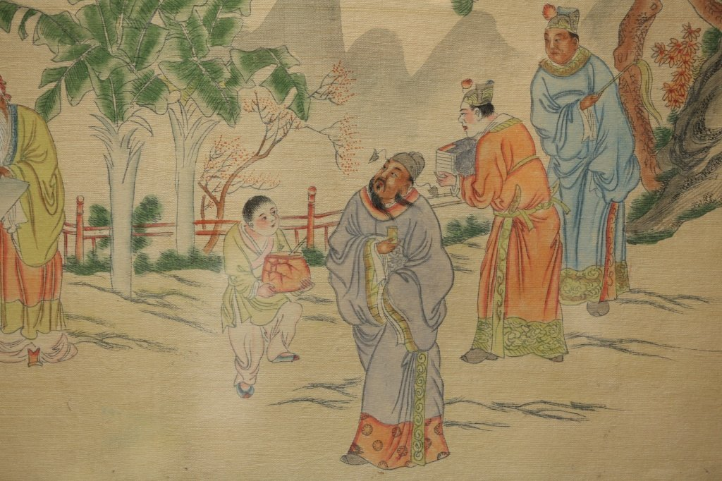 framed Chinese painting on silk - 6