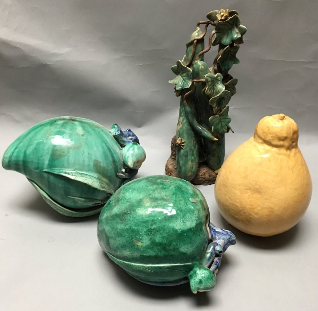 4 Chinese porcelain fruits