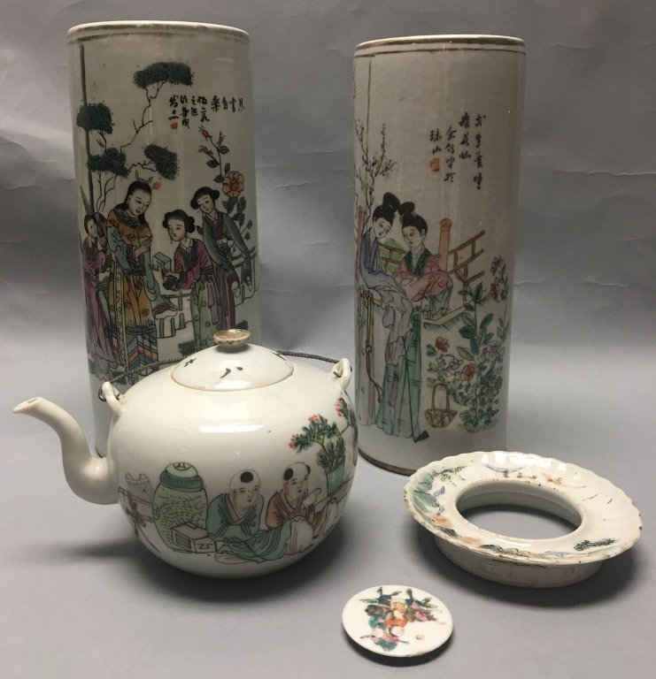 group of 5 Chinese multicolor porcelain items