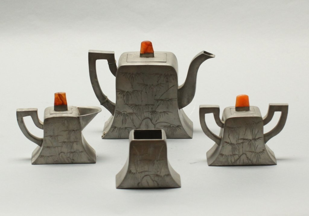 group of four Chinese pewter teapot items