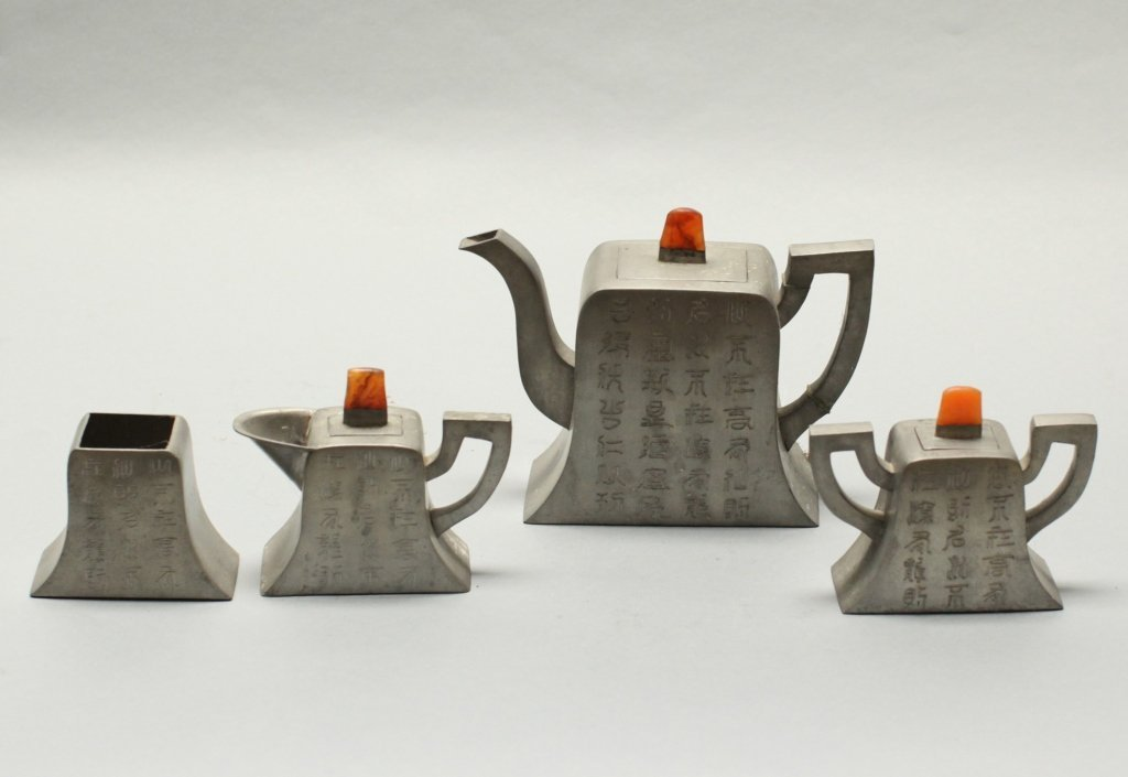 group of four Chinese pewter teapot items - 2