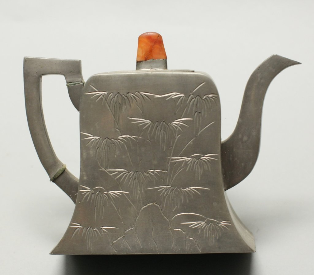 group of four Chinese pewter teapot items - 4