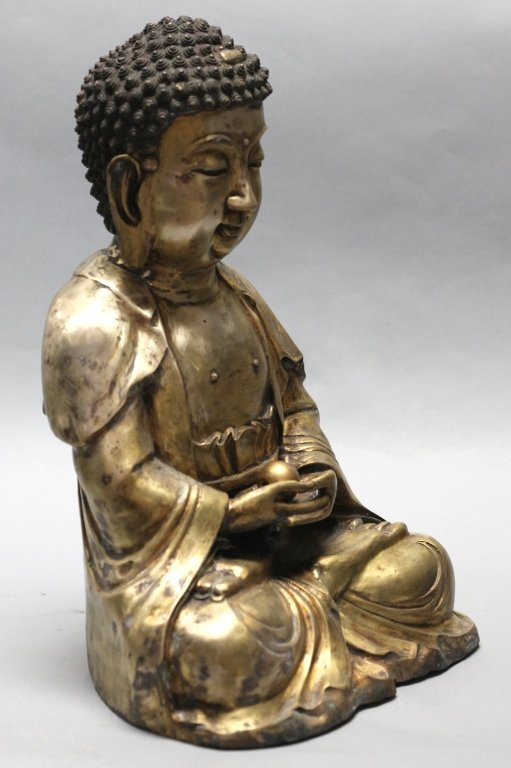 large Chinese bronze buddha - 2