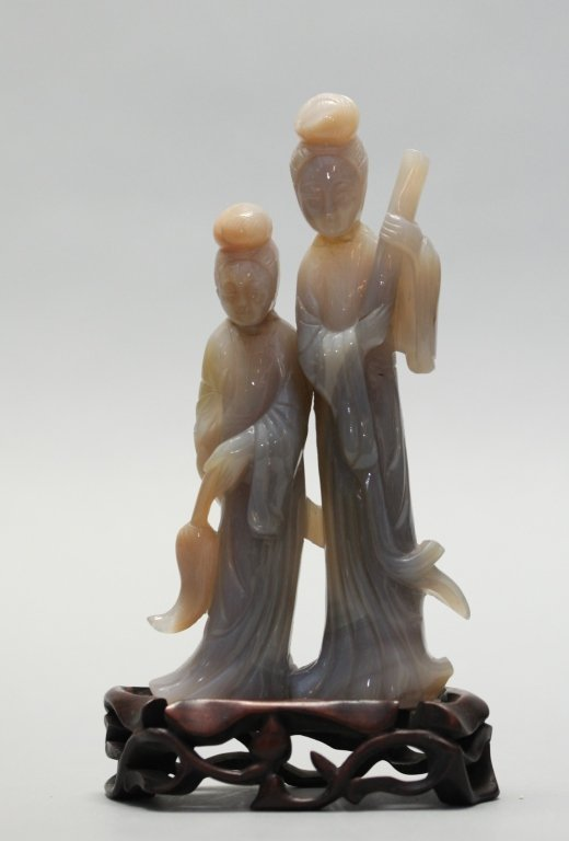 Chinese agate carving of two maidens