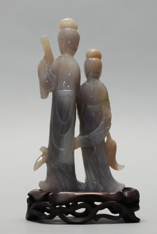 Chinese agate carving of two maidens - 2