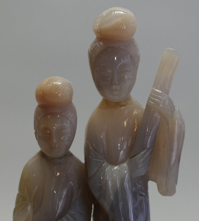 Chinese agate carving of two maidens - 3