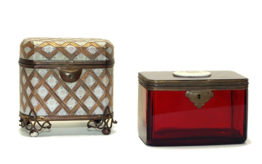 two bronze mounted glass table boxes, 19th c.