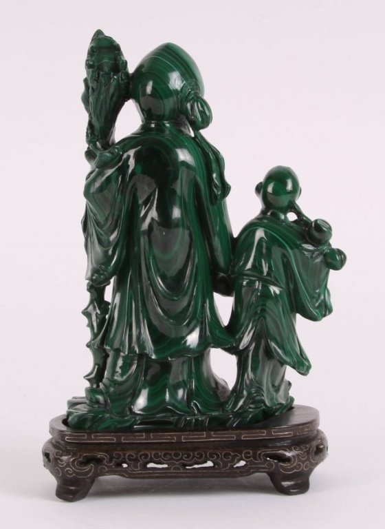 Chinese malachite carving of shoulao w/ attendant - 2