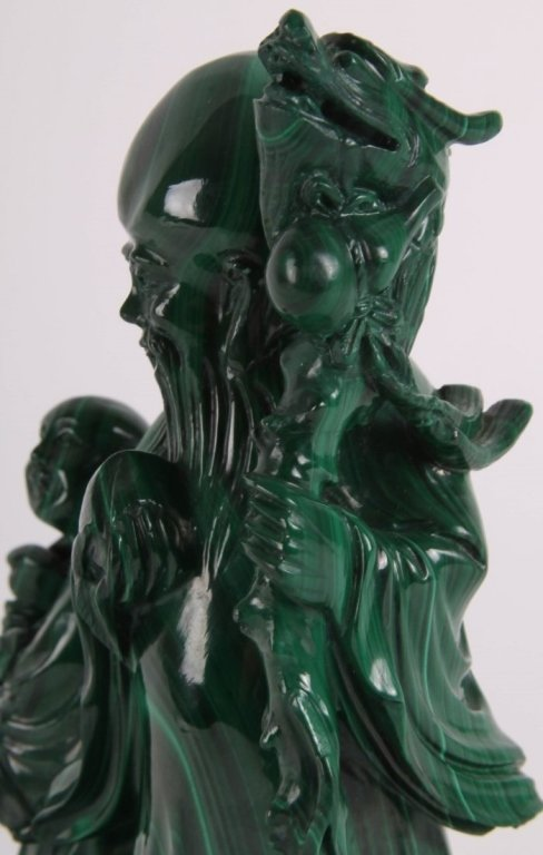 Chinese malachite carving of shoulao w/ attendant - 5
