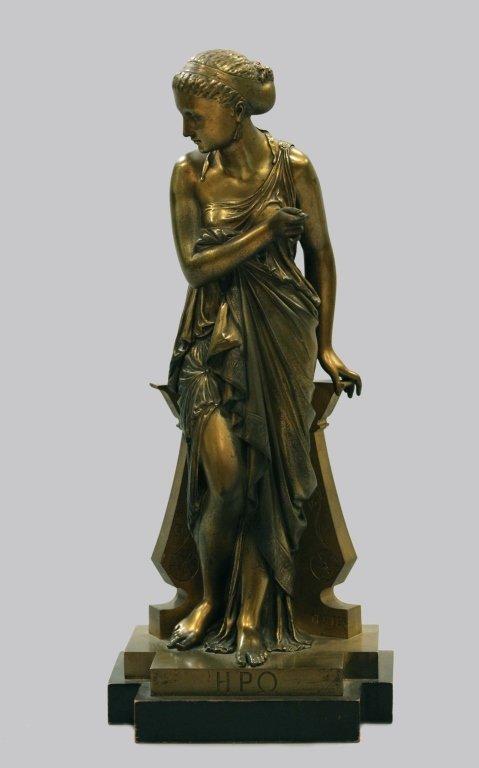 19th c. bronze figure of Diana, signed Peiffer