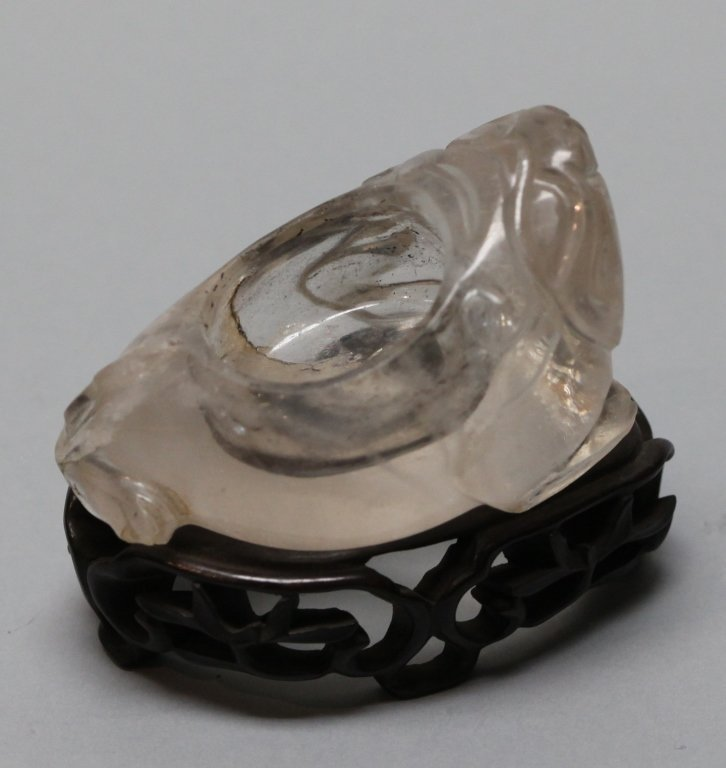 Chinese carved rock crystal inkwell, Qing dynasty