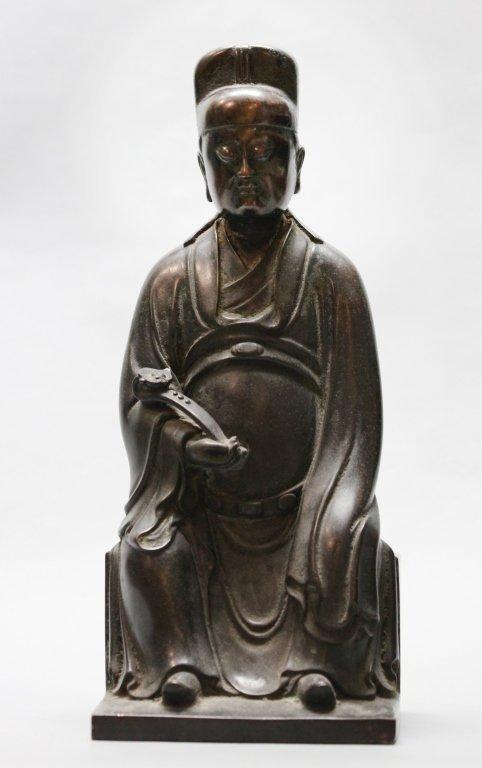 Chinese bronze seated scholar