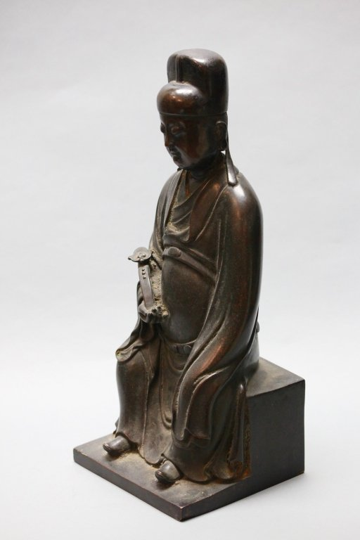 Chinese bronze seated scholar - 2