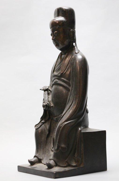 Chinese bronze seated scholar - 3