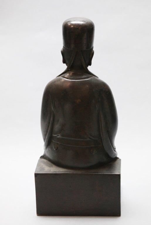 Chinese bronze seated scholar - 4
