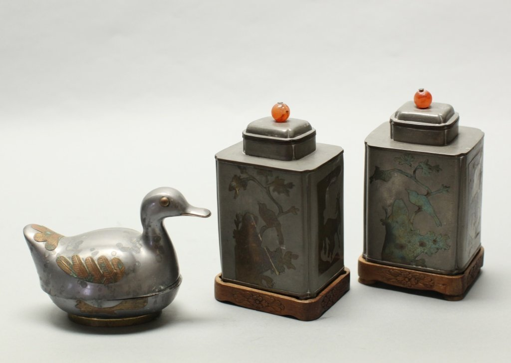three Chinese pewter items w/ brass