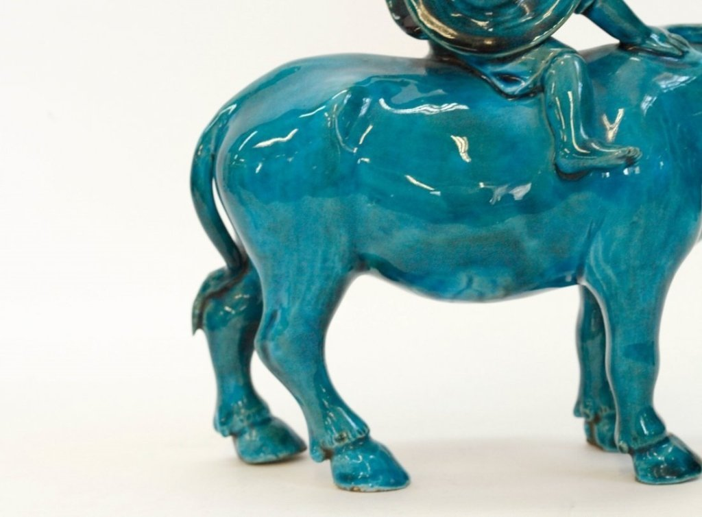 Chinese turquoise glazed porcelain boy riding buffalo - 7