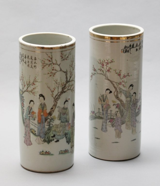 two Chinese porcelain hat stands, Republican period