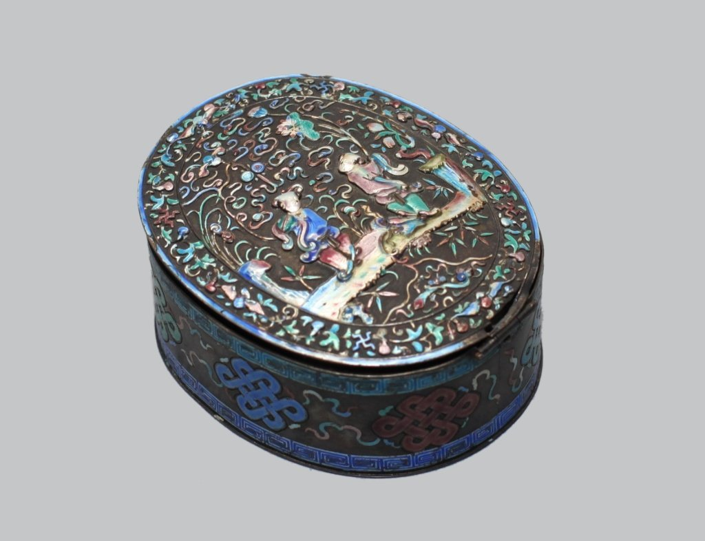 Chinese enameled silver cover box