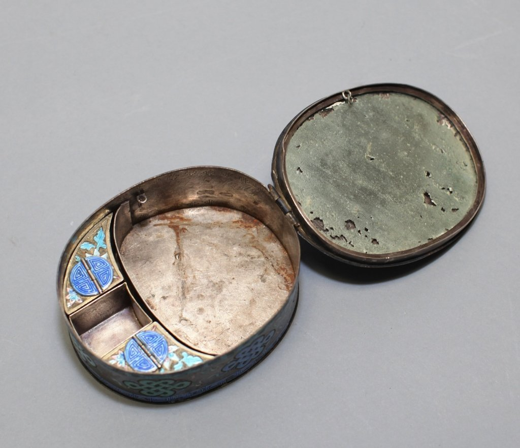 Chinese enameled silver cover box - 2