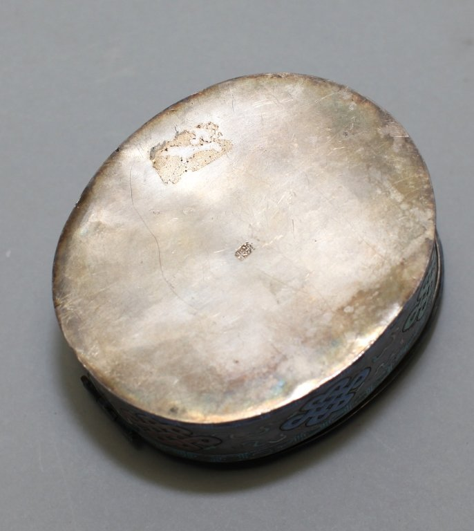 Chinese enameled silver cover box - 3