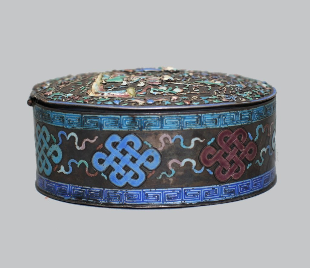 Chinese enameled silver cover box - 4