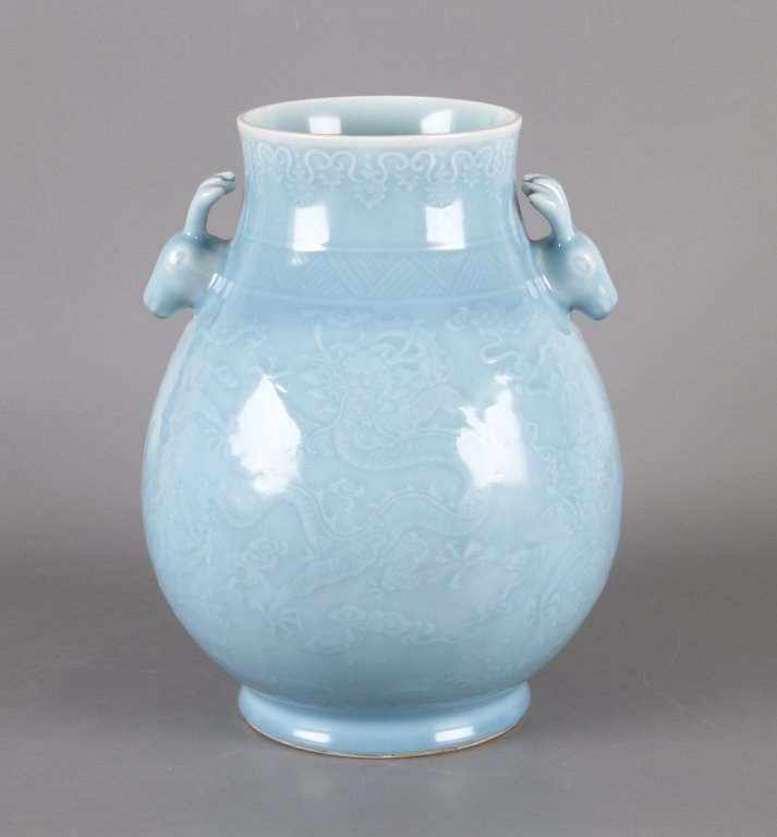 Chinese sky blue glazed porcelain vase