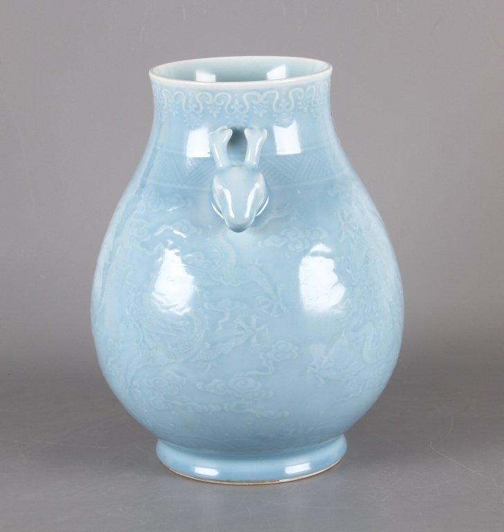 Chinese sky blue glazed porcelain vase - 2