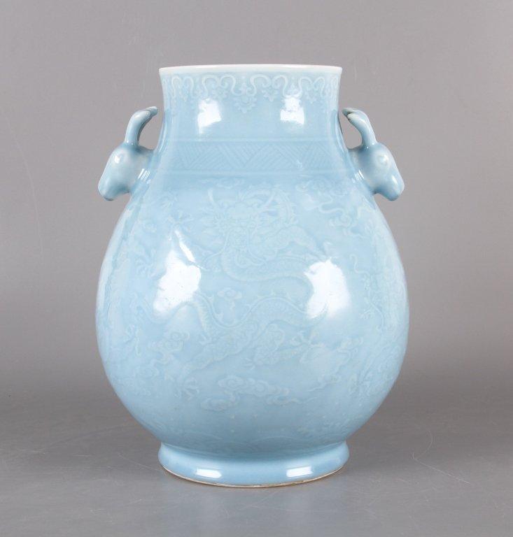 Chinese sky blue glazed porcelain vase - 3