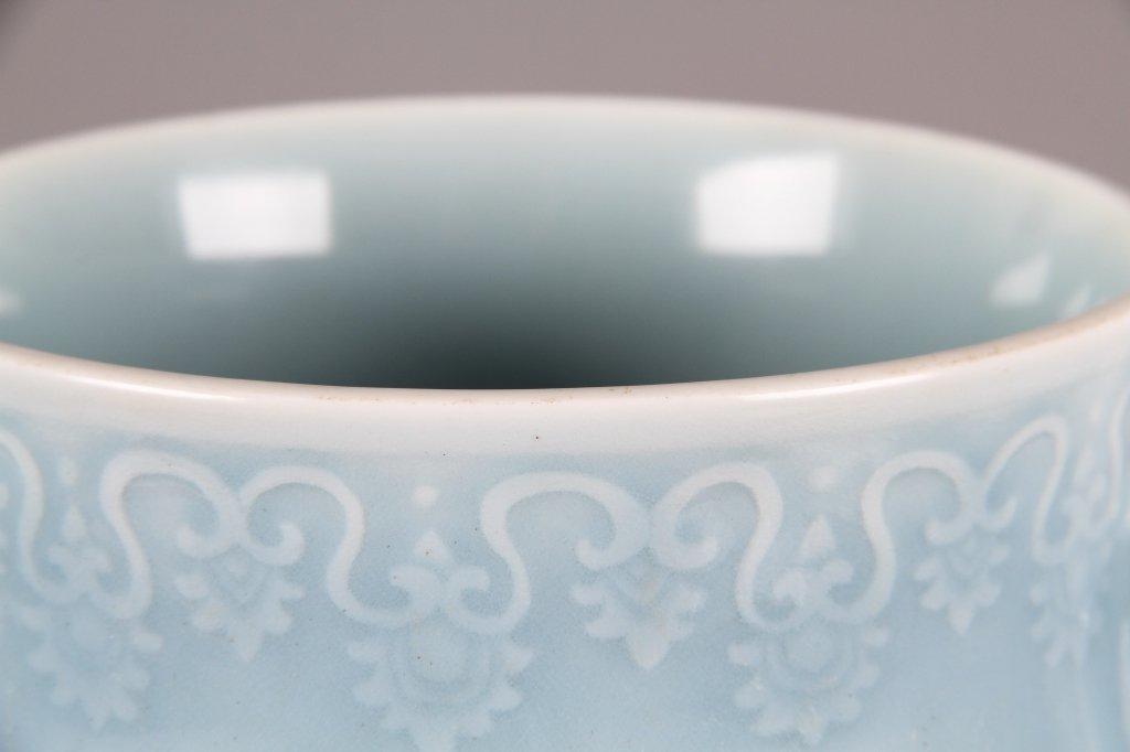 Chinese sky blue glazed porcelain vase - 4