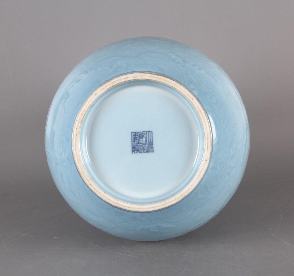 Chinese sky blue glazed porcelain vase - 6