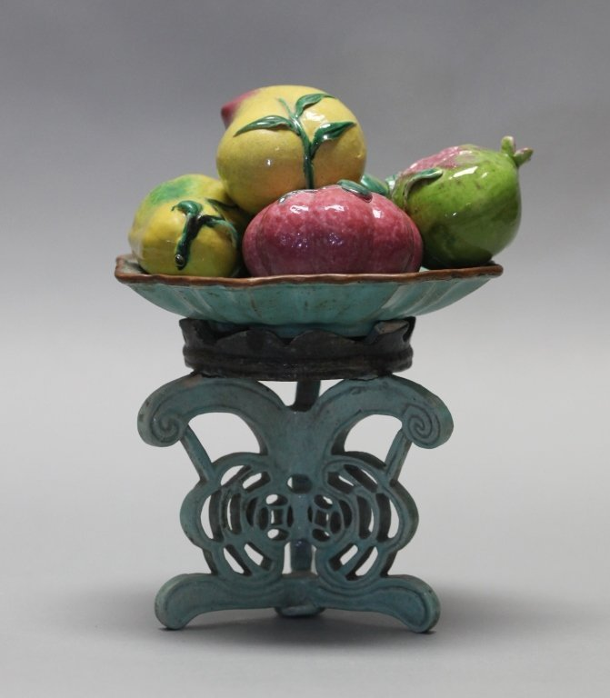 group of 5 Chinese porcelain fruits on raised tray