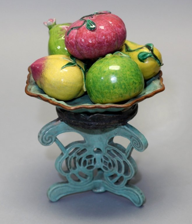 group of 5 Chinese porcelain fruits on raised tray - 4