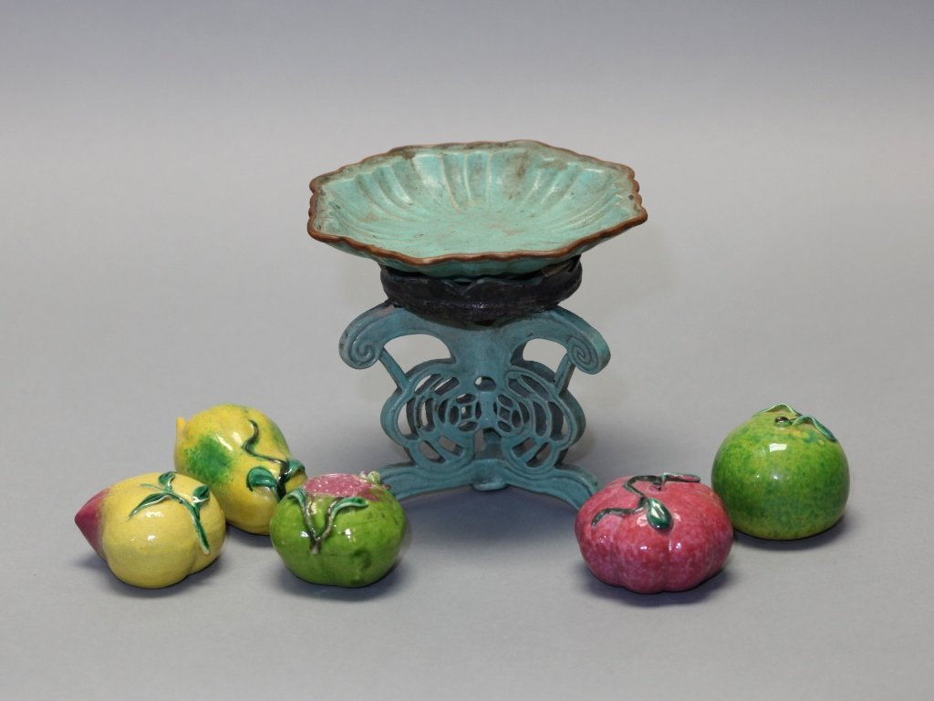 group of 5 Chinese porcelain fruits on raised tray - 5