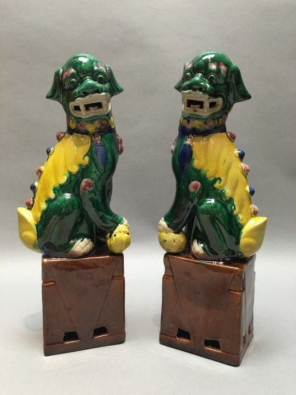 pair of Chinese famille verte Buddhist lions