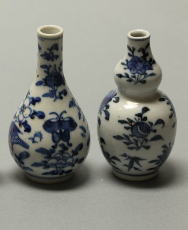 2 Chinese blue & white porcelain vases, Qing dynasty