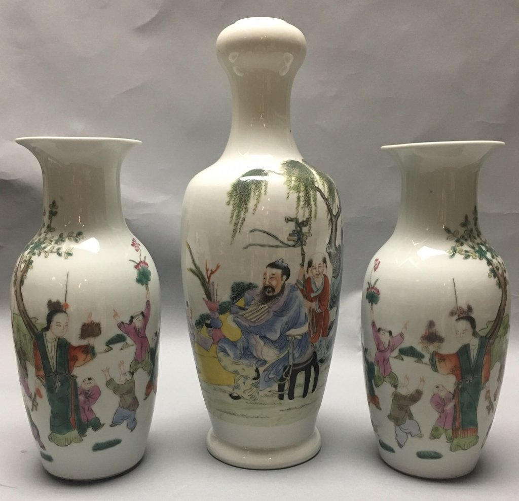3 multicolor Chinese porcelain vases, Republican period