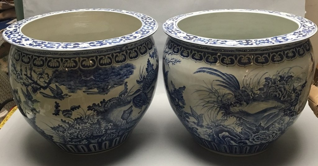 pair of Chinese blue & white porcelain jardinieres