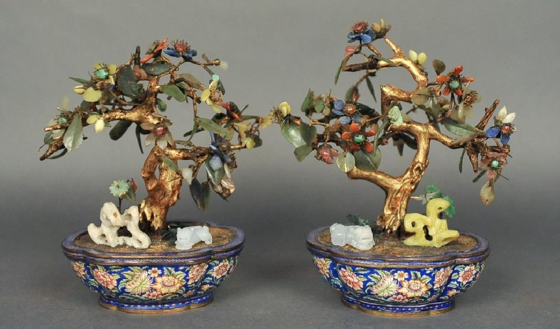 pair of Chinese bonsai jade flower trees, 19th c.