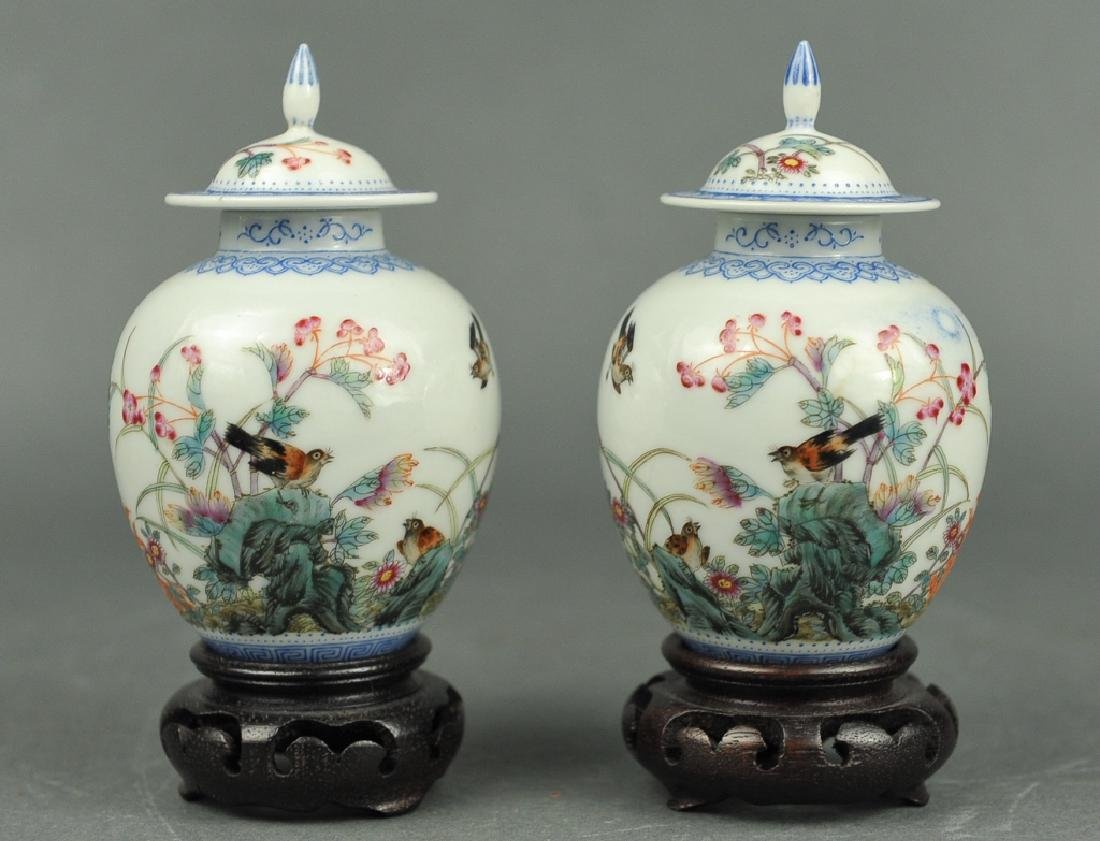 pair of Chinese famille rose cover jars, Republican