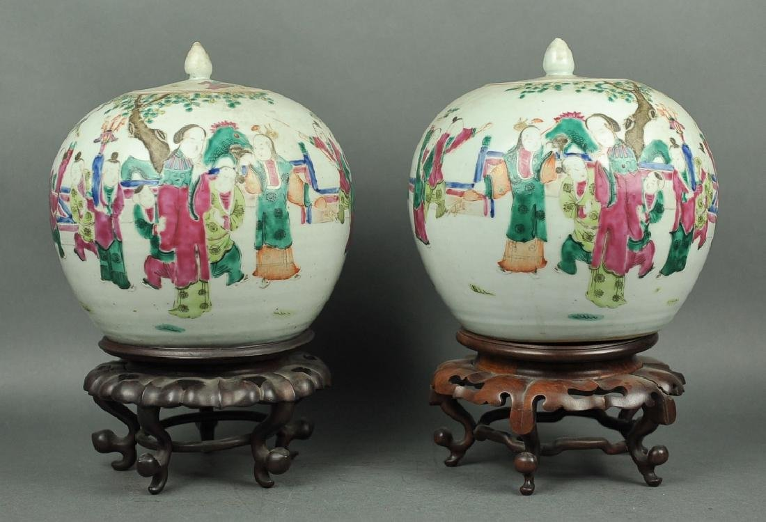 pair of Chinese famille rose ginger jars, 19th c.