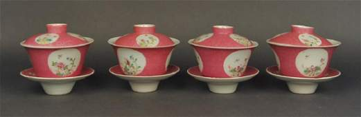 group of 4 Chinese famille rose bowls, 19th c.