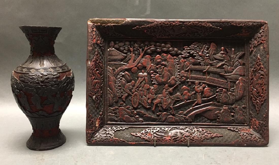 2 Chinese cinnabar items, Republican period