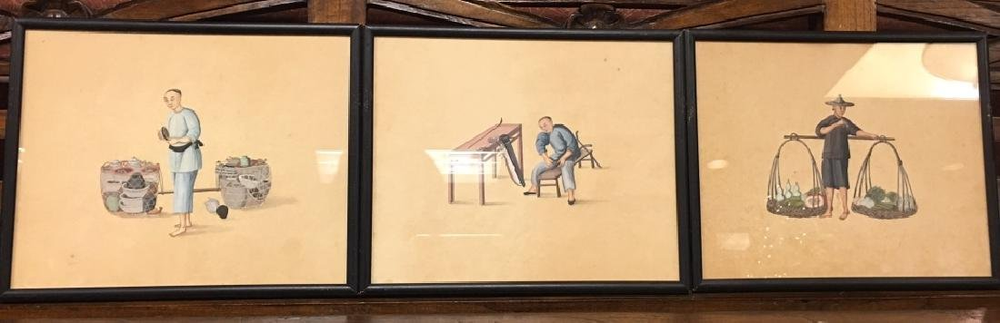 3 framed Chinese watercolors, 19th c.