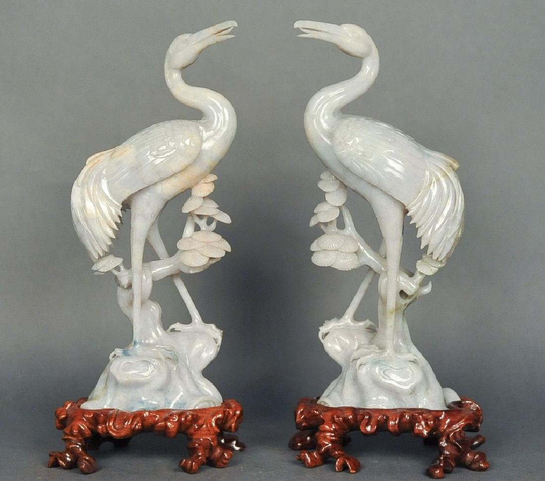 pair of Chinese jadeite cranes