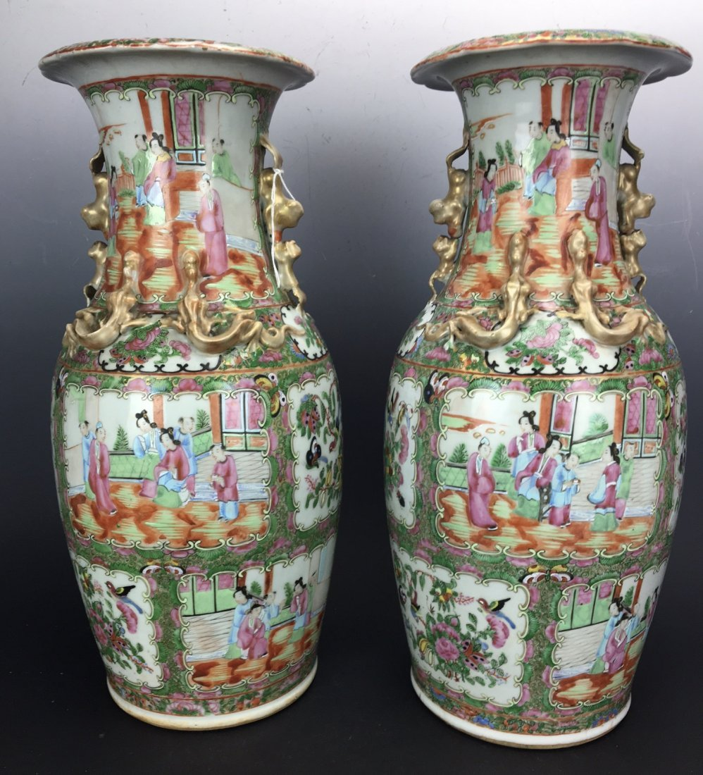 A LARGE PAIR OF CHINESE ROSE CANTON PORCELAIN VASES