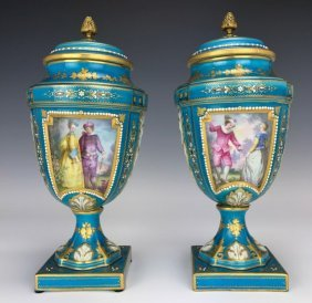 A PAIR OF 19TH CENTURY JEWELLED SEVRES VASES AND COVERS