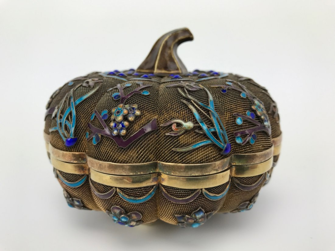 CHINESE GILT SILVER AND ENAMEL BOX