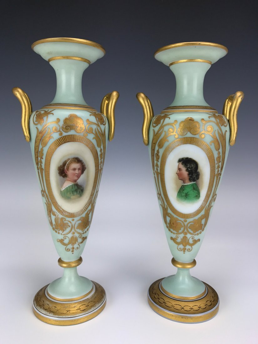 A PAIR OF 19TH CENTURY OPALINE VASES