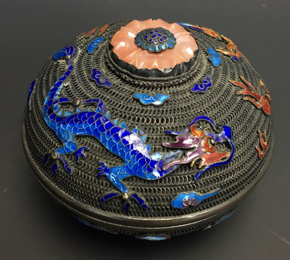 CHINESE SILVER ENAMEL BOX WITH CORAL ON TOP